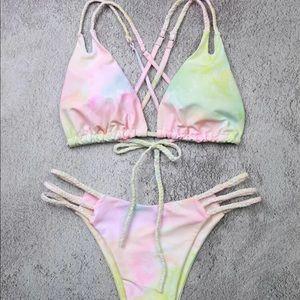 NEW Pastel water color tye dye swim suit bikini